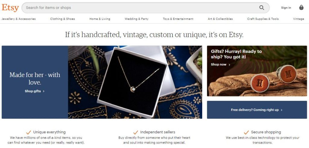Etsy mainly focuses on handmade or vintage products